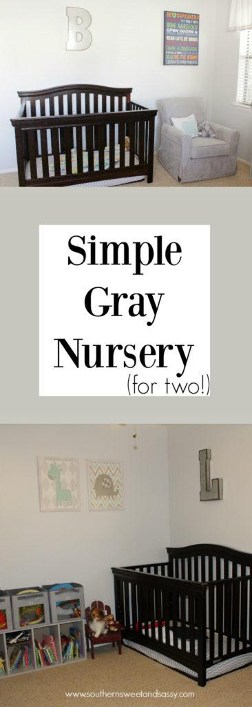Sweet Gray Nursery for two toddlers, twin nursery idea!