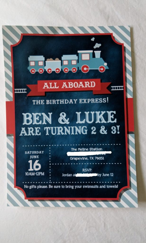boys train party invitation, etsy custom made